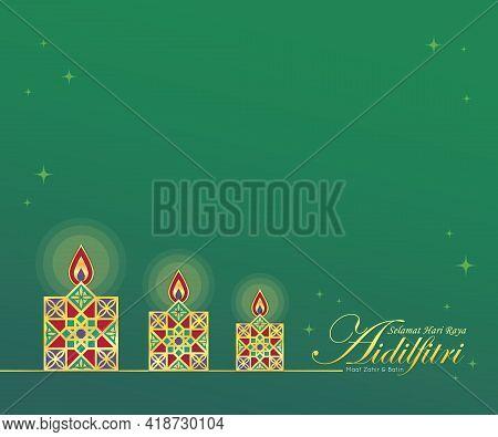 Selamat Hari Raya Aidilfitri Greeting Template. Gold Line Art Pelita Oil Lamp Symbol Flat Design. Mo