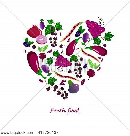 Card With Fresh Fruits And Vegetables - Eggplant, Grapes And Plums, Beans And Red Onions, Black Curr