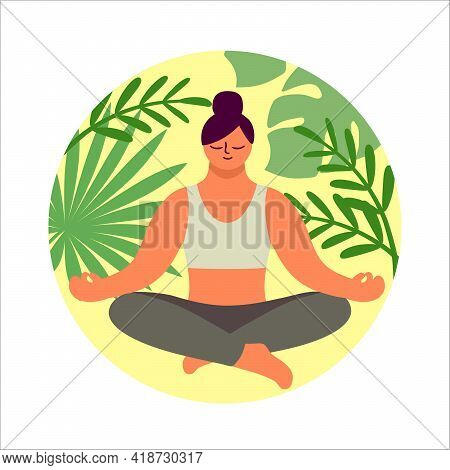 Girl Sitting In Lotus Position And Meditating. Color Vector Illustration