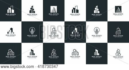 Set Of Architecture Building Logo Design Bundle. Logo Can Be Used For Icon, Brand, Identity, Propert