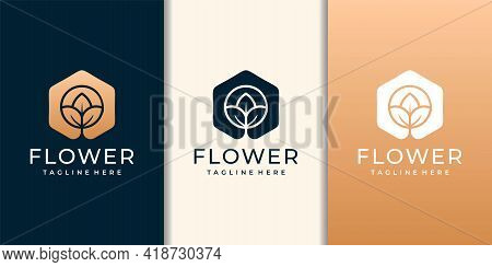 Natural Flower Gold Set Variation Fashion Symbol Concept. Logo Can Be Used For Icon, Brand, Identity