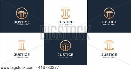 Set Of Modern Legal Lawyer Justice Logo Design Collection Bundle. Logo Can Be Used For Icon, Brand,
