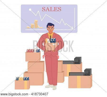 Fired Office Worker Holding Box With His Things, Vector Illustration. Layoff, Dismissal, Unemploymen
