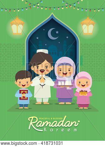 Ramadan Kareem Greeting Illustration. Cartoon Muslim Or Malay Family Celebrate Festival At Home Flat
