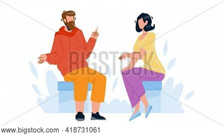 Conversation Between Young Man And Woman Vector. Boy And Girl Sitting On Chair Have Business Convers