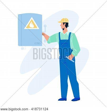 Gas Technician Worker Check Heating Boiler Vector. Gas Technician Service Employee Man Checking Equi