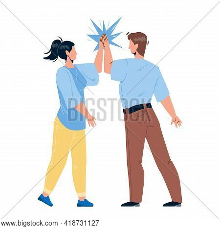 Man Giving High Five Young Woman Friend Vector. Friendly People Giving High Five Together, Greeting