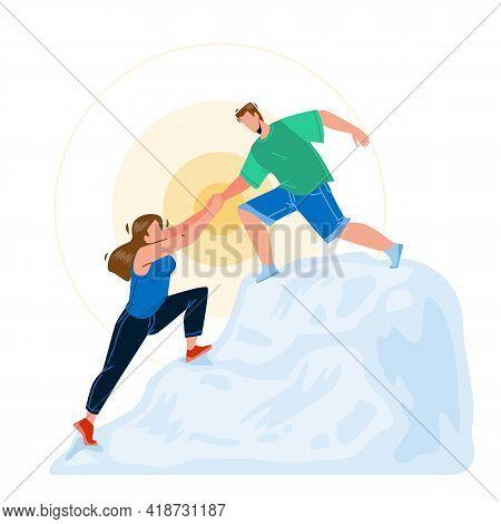 Mountain Climbing Man And Woman Couple Vector. Young Boy Helping Girl Mountain Climbing, Teamwork In