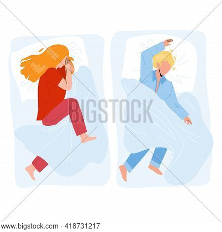 Sleeping Child Boy And Girl In Cozy Bed Vector. On Pillow And Covered Blanket Sleeping Child In Comf