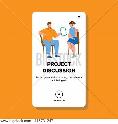 Project Discussion Business Occupation Vector. Manager With Colleague Project Discussion In Conferen