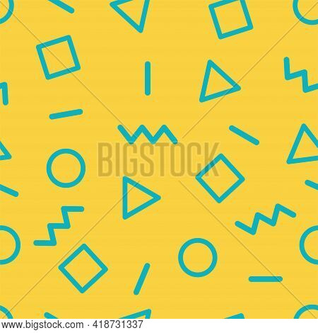 Seamless Abstract Geometric 80s And 90s Style Vector Pattern Design. Doodle Art. Backdrop And Prints