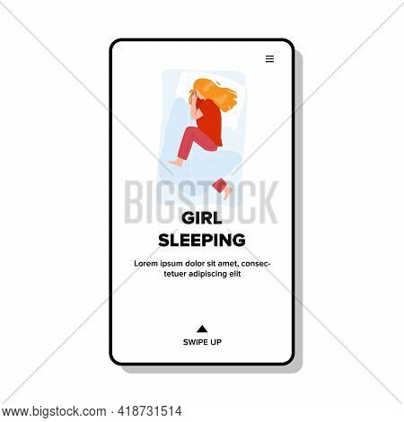 Girl Sleeping In Bedroom Comfortable Bed Vector. Girl Sleeping On Cozy Pillow And Covered Blanket. C