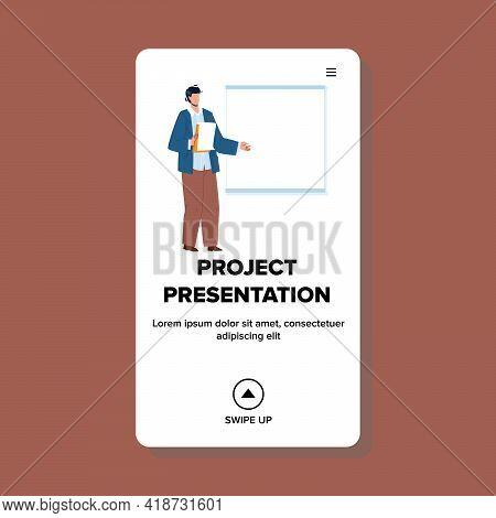 Project Presentation Talking Presenter Vector. Company Project Presentation Speak Businessman In Con