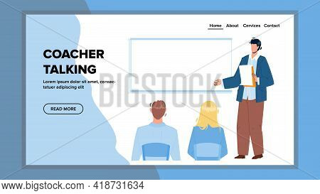 Coacher Talking To Employee On Briefing Vector. Businessman Coacher Talking On Business Meeting In C