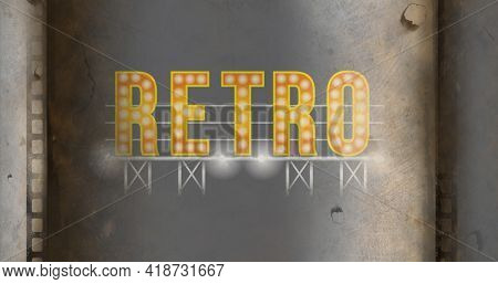 Composition of yellow retro text with lit light bulbs on grey metallic background. vintage entertainment and communication concept digitally generated image,