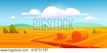 Rural Landscape With Hay Bales On Agriculture Farm Field. Vector Cartoon Illustration Of Countryside