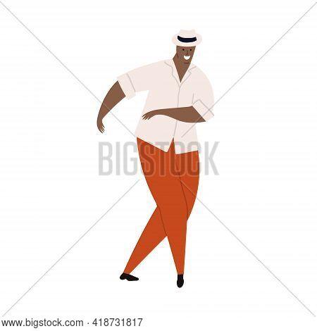 Vector Hand Drawn Cartoon Illustration Of Latino, Carribean. African Man Dancing Salsa And Having Fu