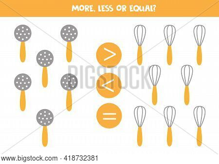 More, Less, Equal With Mesh Skimmer And Whisk. Math Game For Kids.