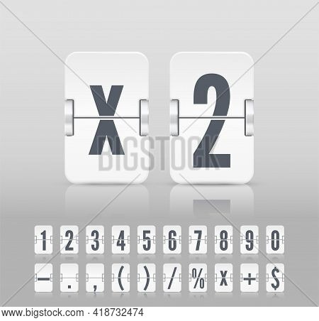 Vector Old Time Meter Of Number And Symbol. White Analog Flip Airport Board Countdown Timer. Retro S