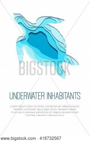 Vertical Banner With Paper Cut Layered Turtle Illustration And Place For Text. Ocean Dweller. Silhou