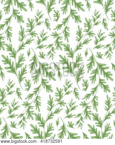 Wormwood Herbaceous Seamless Pattern On A White Background. Fabric With Grass Fields. Wallpaper With
