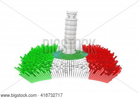 Italy Concept. Abstract White Leaning Pisa Tower In Center Of Abstract Italy City With Italy Flag An
