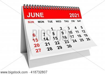 2021 Year June Calendar On A White Background. 3d Rendering