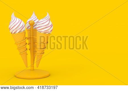 Soft Serve Ice Cream In Waffle Crispy Ice Cream Cones In Chrome Holders On A Yellow Background. 3d R
