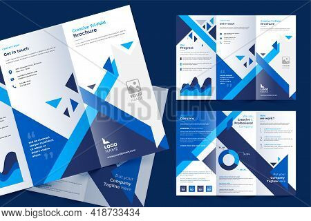 Tri-fold Brochure Template In Modern Style With Blue Tri Angles And Space For Photo. Universal White