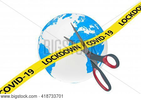 The End Of Lockdown Concept. Scissors Cut Yellow Ribbon With Covid-19 Lockdown Sign On A Planete Ear