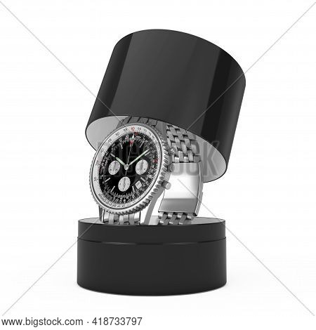 Luxury Classic Analog Men's Wrist Silver Watch With Gift Box On A White Background. 3d Rendering