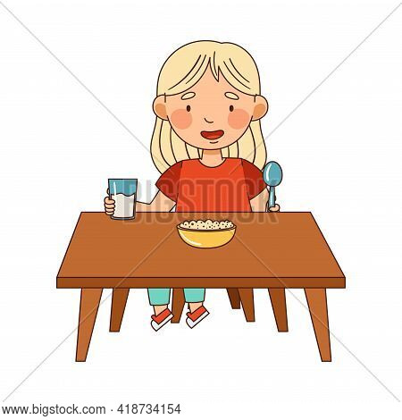 Little Blond Girl In Kindergarden Sitting At Table Eating Cereal And Drinking Milk Vector Illustrati
