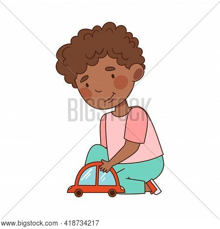 Little African American Boy In Kindergarden Sitting On The Floor And Playing Toy Car Vector Illustra