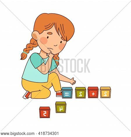Little Redhead Girl In Kindergarden Sitting On The Floor Doing Sums With Cubes Vector Illustration