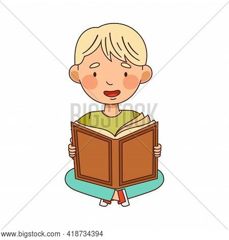 Blond Little Boy In Kindergarden Sitting On The Floor And Reading Book Vector Illustration