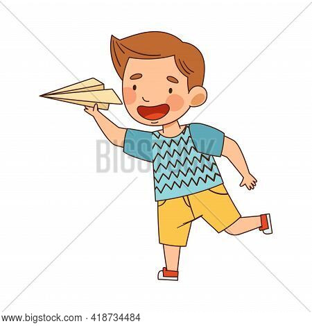 Little Boy In Kindergarden Running And Playing With Toy Paper Plane Vector Illustration
