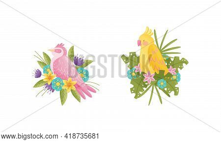Perching Bird Sitting On Floral Nest With Blossoming Flowers Vector Set