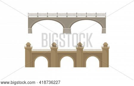 Straight Bridges Made Of Concrete With Baluster Vector Set