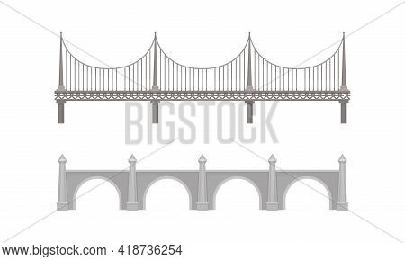 Straight Bridges Made Of Metal And Concrete With Baluster Vector Set