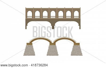 Straight And Arch Bridges Made Of Wood And Concrete With Baluster Vector Set