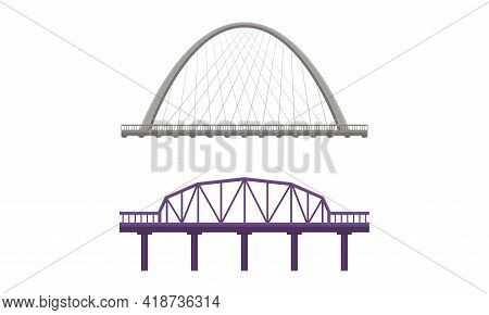 Straight Bridges Made Of Metal With Baluster Vector Set