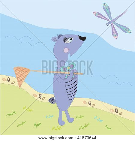 illustration of gopher meeting the dragonfly near the river