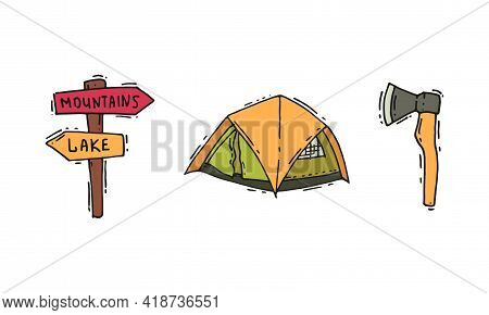 Camping And Expedition Equipment With Ax And Tent Vector Set