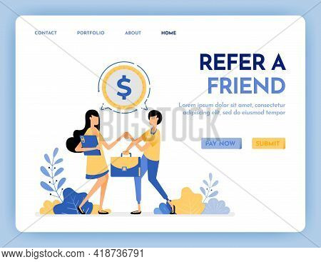 Illustration Of Refer A Friend To Get Reward, Money, Profit, Points, Salary. Networking To Get Money
