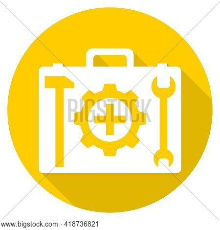 Suitcase With Tools, Suitcase Yellow Icon With Tools. Vector Illustration. Vector.