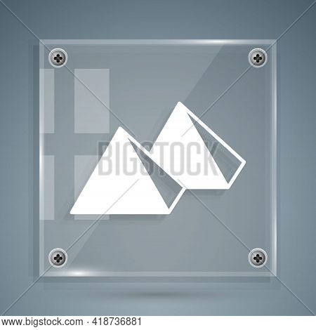 White Egypt Pyramids Icon Isolated On Grey Background. Symbol Of Ancient Egypt. Square Glass Panels.