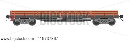 Freight Railroad Car Isolated On White Background. Freight Boxcar Wagon. Flatcar Part Of Cargo Train