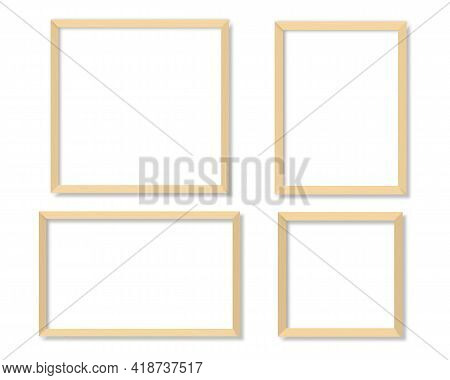 Set Of Empty White Blank Picture With Wooden Frame. Blank White Picture Frames Mockup Template Isola