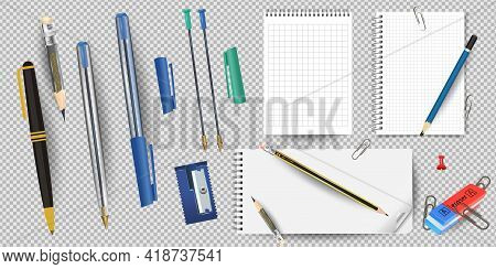 Realistic White Lined Notepad And Pencil Sheet, Sharpener And Eraser, Pens And Paper Clips Isolated