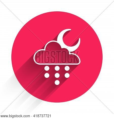 White Cloud With Rain And Moon Icon Isolated With Long Shadow. Rain Cloud Precipitation With Rain Dr
